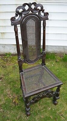 William & Mary Carved & Caned Boston Chair 1690-1700 RARE! WELSH INFLUENCE