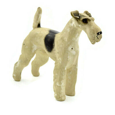 Antique JAN ALLAN Wire Hair Fox Terrier Dog Chalkware Figurine