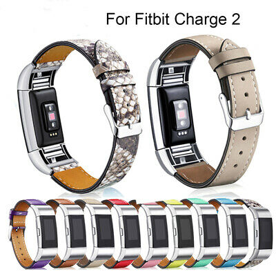 Band for Fitbit Charge 2 Classic Genuine Leather Wristband Metal Fitness Strap