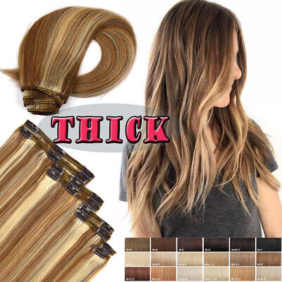Luxury Clip in Remy Human Hair Extensions Thick Double Weft Full Head US Stock