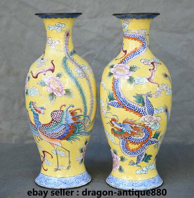 "9"" Old Marked Chinese Copper Cloisonne Animal lucky Dragon Phoenix Vase Pot Pair"
