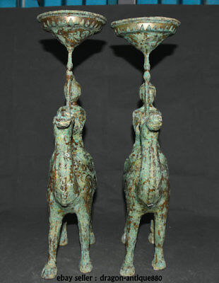 """17"""" Old Chinese Bronze Gilt Dynasty People Camel Candle Holder Candlestick Pair"""