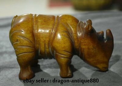 "5.6"" Old Chinese Ox Horn Oxhorn Hand Carved Rhinoceros Bull Oxen Cattle Statue"