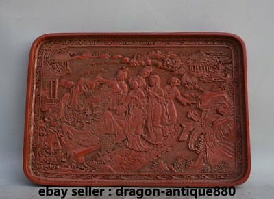 """14"""" Old Marked Chinese Red lacquerware Ancient Four Great Belle Plate Tray Dish"""