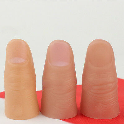 3Pcs Fun Fake Soft Thumb Tip Finger Magic Prank Trick Close Up Vanish Prop Toys