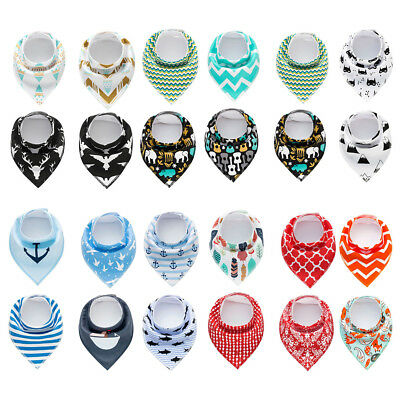 Baby Boys Girls Printed Soft Absorbent Bandana Drool Bibs with Snaps 4 Pcs/Set