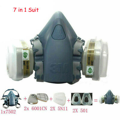 3M 6200/7502 Spray Paint Dust Mask 7 in1 Facepiece Gas Protection Respirator