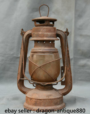 """11"""" Collect Chinese dynasty palace Old Antique iron Glass oil lamp"""