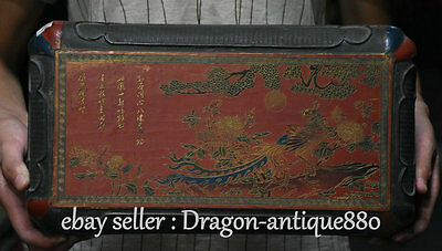"15""Old Chinese Wood Lacquerware Painting Dynasty Phoenix Flower Luck Jewelry Box"