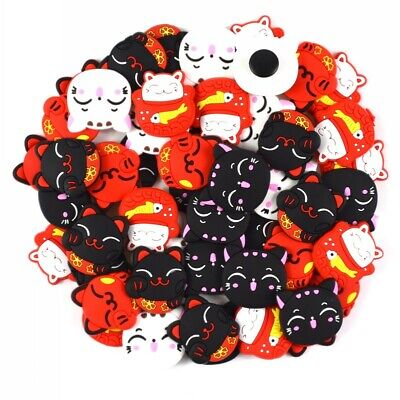 Kids Gifts 50pcs Japan Lucky Fortune Cat Soft Shoe Charms Fit Clog/Wristbands