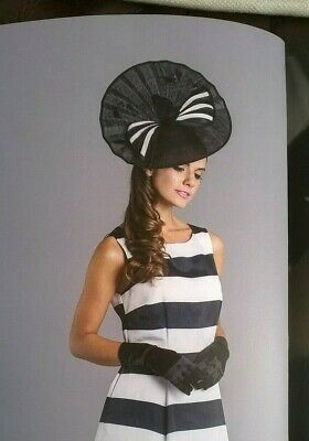 Black & ivory  Hatinator disc with bow Wedding.races.,ascot
