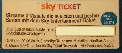 SKY Entertainment Ticket Streame 3 Monate neueste Serien f. Neukunden Wert 30 €