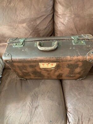 Antique/vintage French suitcase, beautiful example with original travel stamps