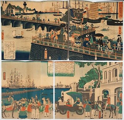 Original Japanese Woodblock Print, Ukiyo-e, Set of 2 Triptychs, London View,Port
