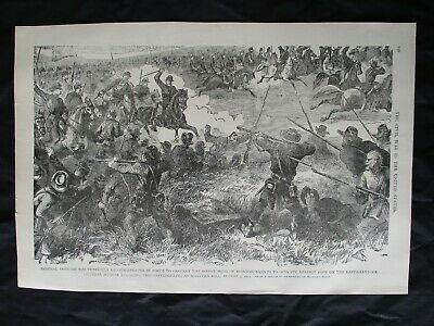 1884 Civil War Prints - Gen. Hooker Attacking Confederates at Malvern Hill, 1862