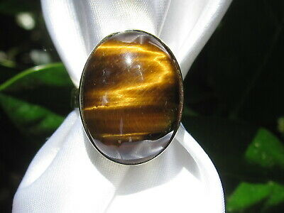 Tiger's Eye Ring 14K Oval Cabochon Fine Jewelry Estate 12.50ct Yellow Gold Tiger