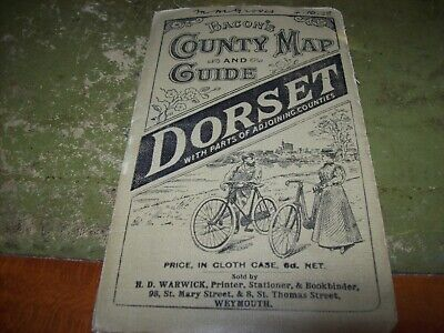 dorset bacons old guide and county map 1920s great cycle illustration