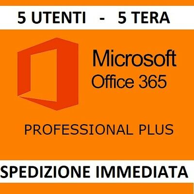 MICROSOFT OFFICE 365/2016 PRO PLUS Licenza a vita 5 dispositivi 5TB Onedrive IT