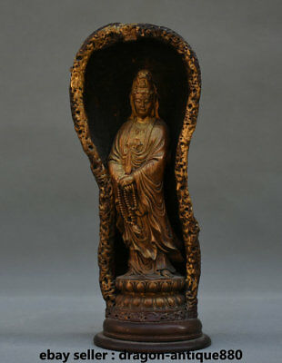 """8"""" Old Chinese Wood Hand-Carved Stand lotus Kwan-Yin Guan Yin Goddess Sculpture"""