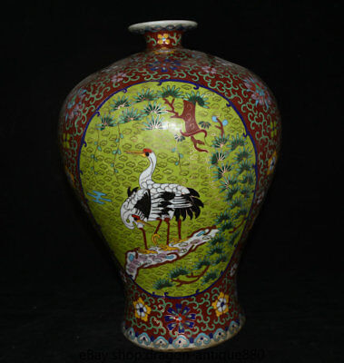 "15.2"" Marked Old Chinese Cloisonne Porcelain Palace Crane Flower Bottle Vase"