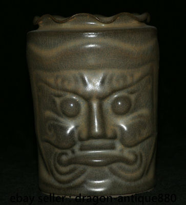 """6""""Old Chinese dynasty Song Guan Porcelain People Face Head Brush Pot Pencil Vase"""