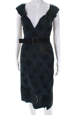 0373be57 Prada Womens Cap Sleeve Sweetheart Midi Dress Blue Black Eyelet Size It 38  US 2