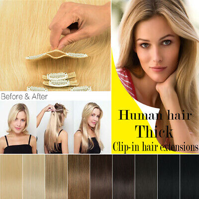 """CLEARANCE Remy Thick Clip In Human Hair Extensions FULL HEAD 10-22"""" Invisible"""