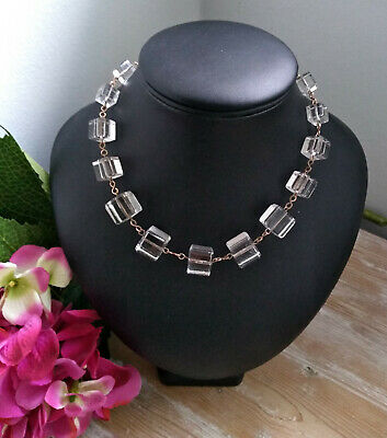 RARE VINTAGE ART DECO 30s CZECH CLEAR GLASS CUBE BEADS NECKLACE BRIDAL JEWELLERY