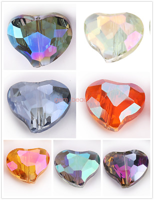 Crystal Heart 20x16mm Faceted Glass Loose Spacer Beads Jewelry Finding Crafts