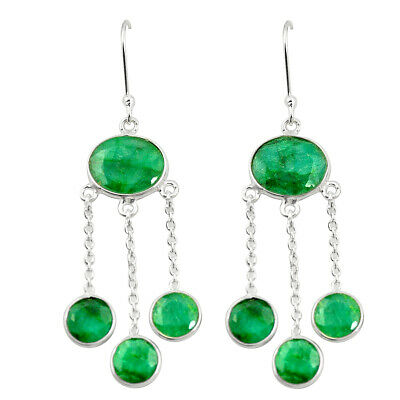 Nice Natural Green Emerald 925 Sterling Silver Dangle Earrings Jewelry Thejaipurshop Gemstone