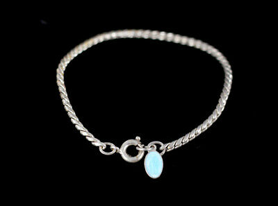 Antique French Sterling Fancy Chain Blue Enamel Saint Charm Childs Bracelet
