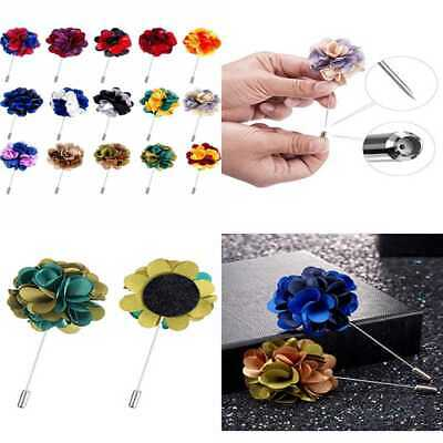 15 PC Men's Lapel Pin Handmade Satin Flower Boutonniere W Gift Box For Suit Wedd
