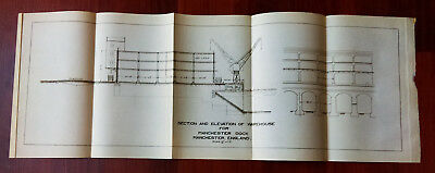 1910 Sketch Diagram of Elevation of Warehouse of Manchester Dock England