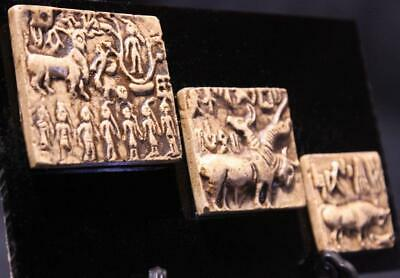 MOUNTED INDUS VALLEY SEAL TABLETS Harappa & Mohenjo-Daro 2500 BC museum replicas