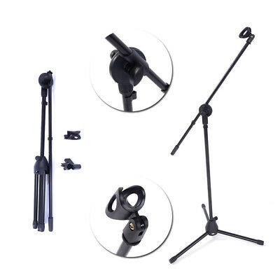 Microphone Stand Dual Mic Clip Adjustable Rotating Folding Type Boom Arm Tripod
