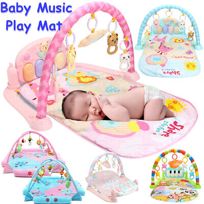 3 in 1 Fitness Baby Gym Play Mat Lay Floor Play Music And Lights Fun Piano Toys