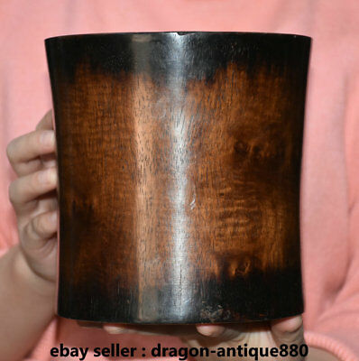 """6.2"""" Old China Huanghuali Wood Dynasty Palace Hand Carved Brush Pot Pencil Vase"""