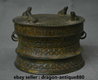 "7.4"" Antique Old Chinese Bronze Ware Dynasty Animal Frog Drum musical instrument"