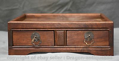 """10"""" Collect Old Chinese Huanghuali Wood Dynasty Two Drawer Llocker Jewelry Box"""