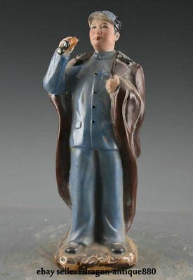 """12.4"""" Collect Old Chinese Wucai Porcelain Mao Zedong Red Army Statue Sculpture"""