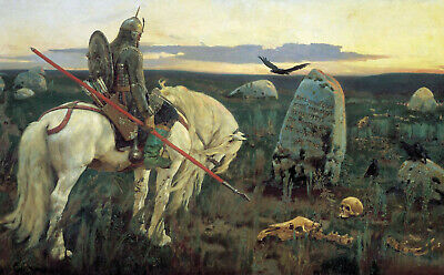 """perfect 36x24 oil painting handpainted on canvas""""knight at crossroads"""" N15224"""