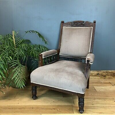Antique Edwardian Parlor Chair Armchair Library Upholstered Fireside Seat