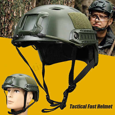 Outdoor Wargame Airsoft Tactical Military Gear Combat Fast Helmet Cover w/ Track