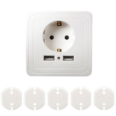 2A Dual USB Ports Wall Charger EU Plug Socket Outlet + 5x Safety Cover HS1205
