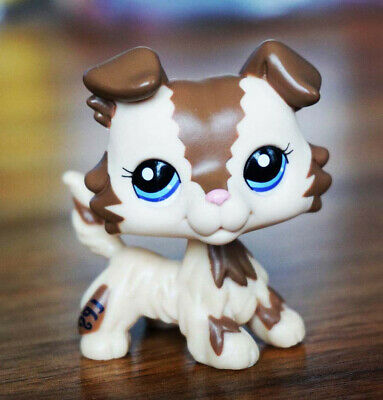 LPS Brown Collie Dog #2210 Puggy Figure Loose Action Toy Littlest Pet Shop