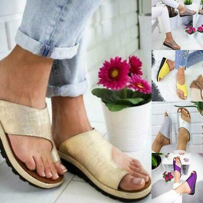 Women Ladies Comfy Platform Sandals - PU LEATHER - with Bunion Corrector New