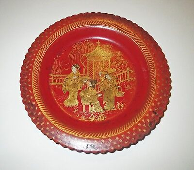 Japanese Antique 1800s RED LACQUER Cinnabar & GOLD BOWL  - GEISHA SERVING TEA