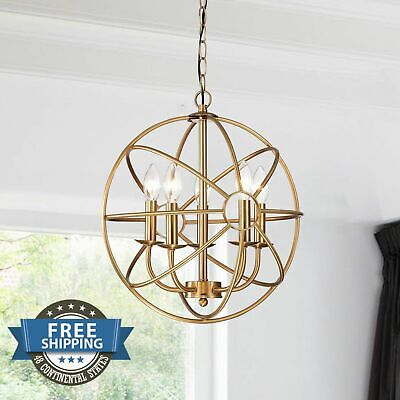 Chandelier Antique Vintage 5 Light Fixture Modern Contemporary Globe Brass Metal