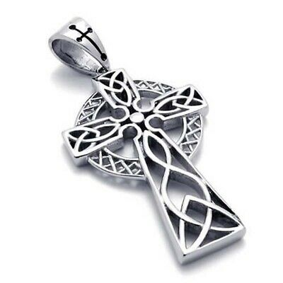 1X(Jewelry Stainless Steel Retro Celtic Knot Cross Pendant with 60cm Chain, N 2Z