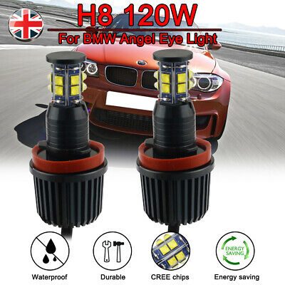 For BMW 1/3/5/6/X/Z Series CREE LED Angel Eye Halo Ring Light H8 Bulb Canbus UK
